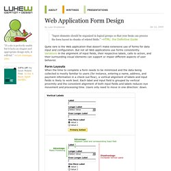 Web Application Form Design