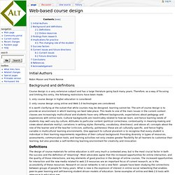 Web-based course design - ALT_Wiki