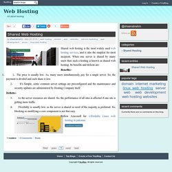 All About Shared Web Hosting