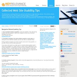 Web Site Usability Tips