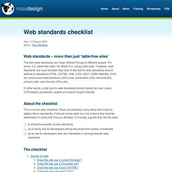 Web standards checklist