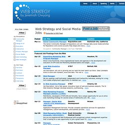 Web Strategy and Social Media Jobs