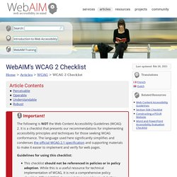 s WCAG 2.0 Checklist - for HTML documents