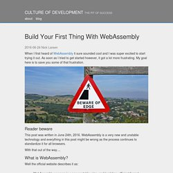 Build Your First Thing With WebAssembly - Culture of Development