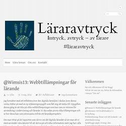 @Wimsis13: Webbtillämpningar för lärande