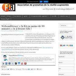 Webconférence «la RA en moins de 30 minutes» le 2 février 12h !