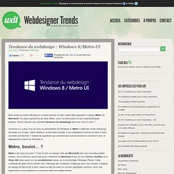 Tendance du webdesign : Windows 8/Metro UI