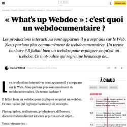 «What's up Webdoc»: c'est quoi un webdocumentaire? - 12 septembre 2013