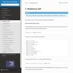7. WebDriver API — Selenium Python Bindings 2 documentation