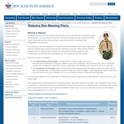 Webelos Den Meeting Plans
