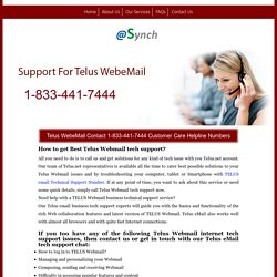 Telus WebeMail Customer Support Service 1-833-441-7444 Number