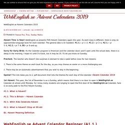 WebEnglish.se Advent Calendars 2019