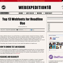 Top 13 Webfonts for Headline Use