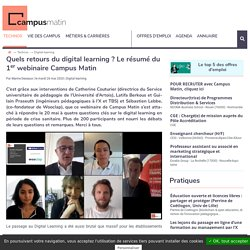 Webinaire Campus Matin : premiers retour du digital learning en confinement ?