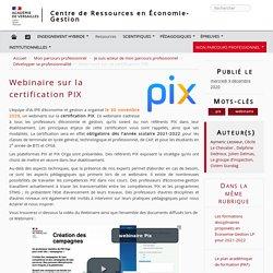 Webinaire sur la certification PIX - Centre de Ressources en Économie-Gestion