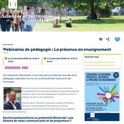 Webinaires de pédagogie : La présence en enseignement - UFR Sciences et techniques
