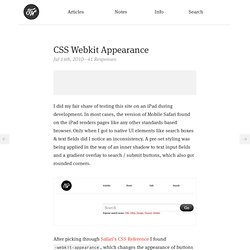 CSS Webkit Appearance