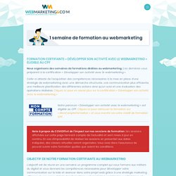 Formation Webmarketing Certifiante (éligible CPF) : 1 semaine pour se former au webmarketing
