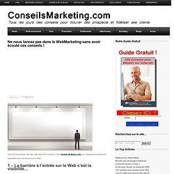 Ne nous lancez pas dans le WebMarketing sans avoir écouté ces conseils !ConseilsMarketing.fr