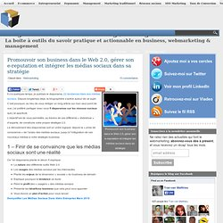 Promouvoir son business dans le Web 2.0, gérer son e-reputation