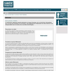 Webmaster - Métier - Carrière Informatique