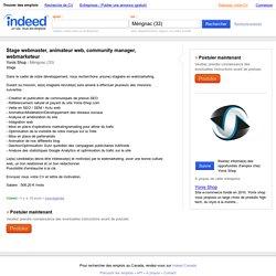 Emploi Stage webmaster, animateur web, community manager, webmarketeur - Yonis Shop - Mérignac (33)