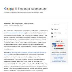 El Blog para Webmasters de Google: Guía SEO de Google para principiantes