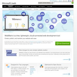 Free Web Development Tools for Windows | Microsoft WebMatrix