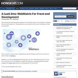 A Look Into: WebMatrix for Front-end Development