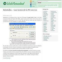 Balabolka - Leer textos de la PC con voz