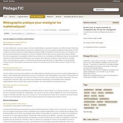 Webographie pratique pour enseigner les mathématiques! - PédagoTIC