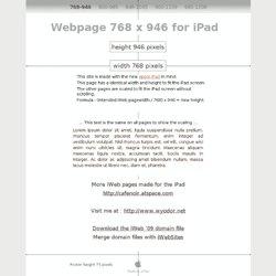 Webpage 768 x 946 for iPad