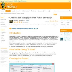 Create Clean Webpages with Twitter Bootstrap