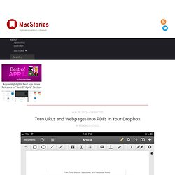 Turn URLs and Webpages Into PDFs In Your Dropbox – MacStories
