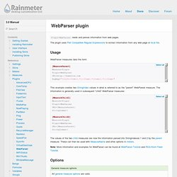 WebParser plugin - Rainmeter 2.4 Manual