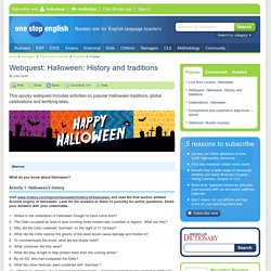 webquest halloween history and traditions - Halloween Web Quest