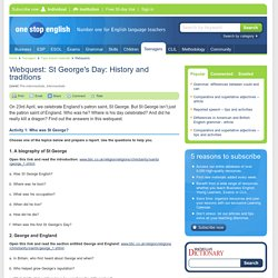Webquest: St George's Day: History and traditions