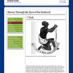 Slavery Through the Eyes of the Enslaved: created with Zunal WebQuest Maker