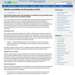 Website accessibility and the Equality Act 2010