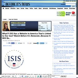 What?! ISIS Has a Website in America That's Linked to Our Gov? Watch Before It's Removed…Because It Will Be...