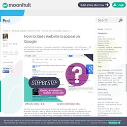 How to: Get a website to appear on Google - Moonfruit Lounge