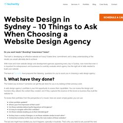 Website Design in Sydney - 10 Things to Ask When Choosing a Website Design Agency - Techwitty