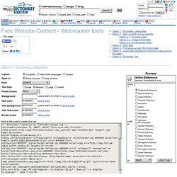 Free Website Content - Webmaster tools
