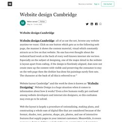 Website design Cambridge - Mehar sanwal - Medium