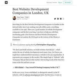 Best Website Development Companies in London, UK - Ruby Yadav - Medium