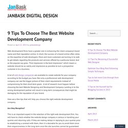 9 Tips To Choose The Best Website Development Company