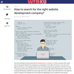 How to search for the right website development company? - WebKu