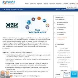 CMS Website Development, CMS Website Design by Evince Development