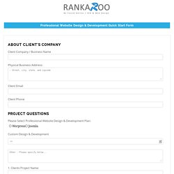 Quick Start Website Design & Development Form - Rankaroo