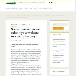 Some hints when you submit your website to a web directory – Search Engine Optimization & SEO Daily Updates Blog